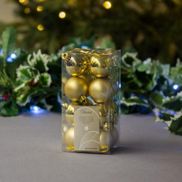 Sparkling Gold Baubles 4cm Pack of 16