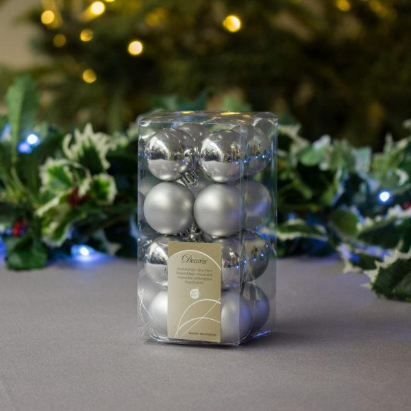Festive Silver Baubles 4cm Pack of 16
