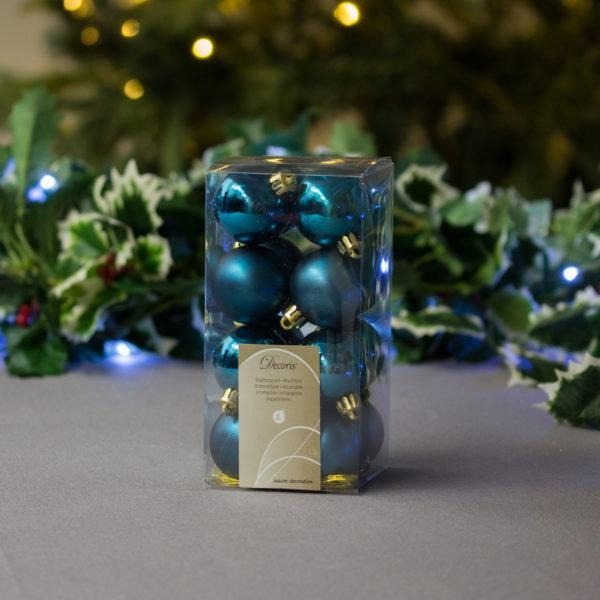 Petrol Blue Baubles 4cm Pack of 16