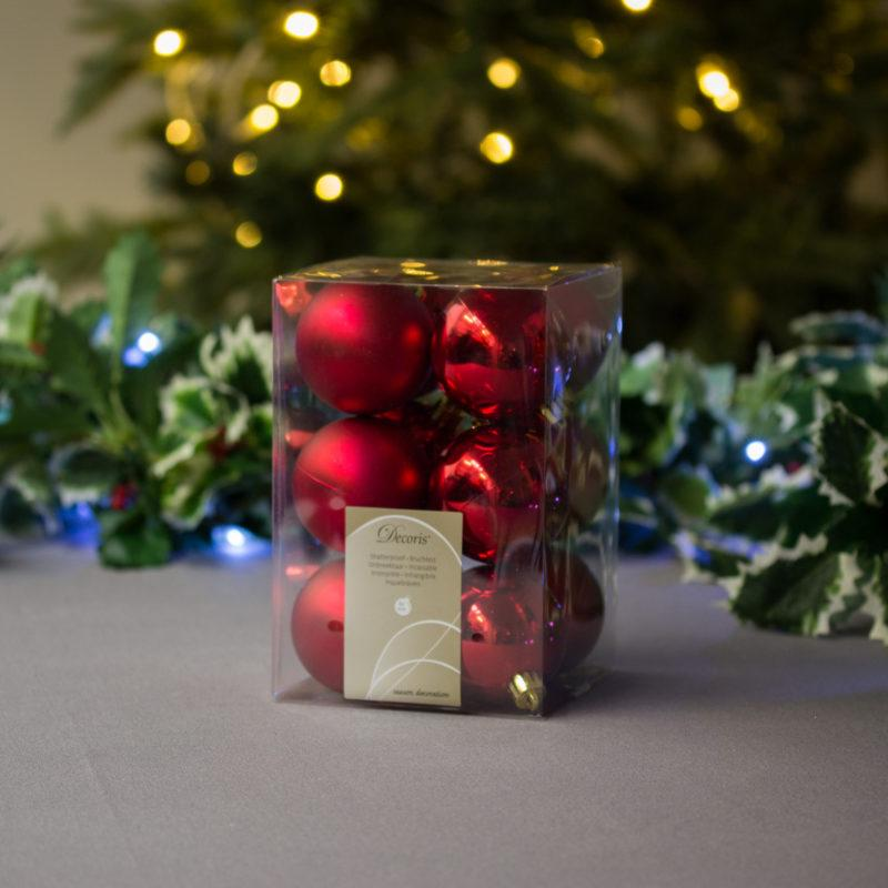 Christmas Red Baubles 6cm Pack of 12