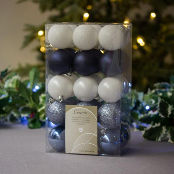 White/Blue/Silver Baubles 6cm Pack of 30