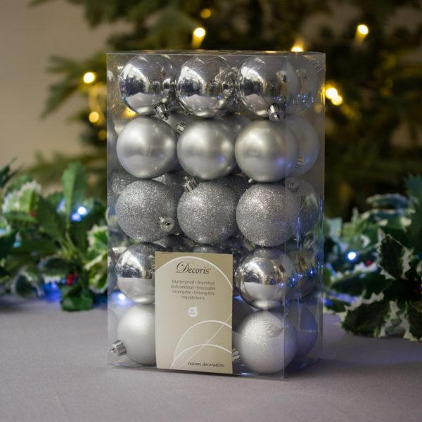 Festive Silver Baubles 6cm Pack of 30