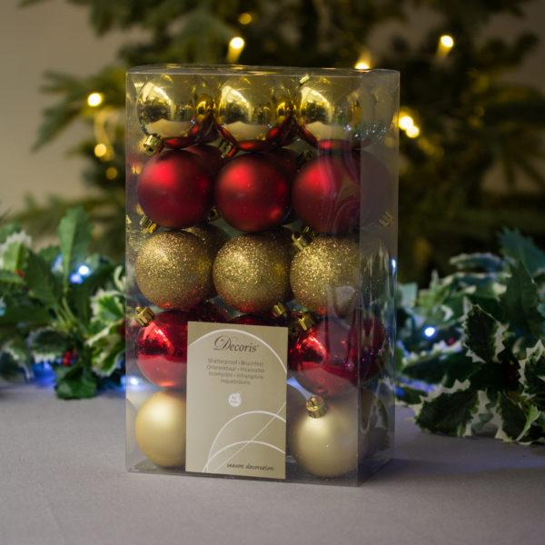 Christmas Red & Sparkling Gold Baubles 6cm Pack of 30