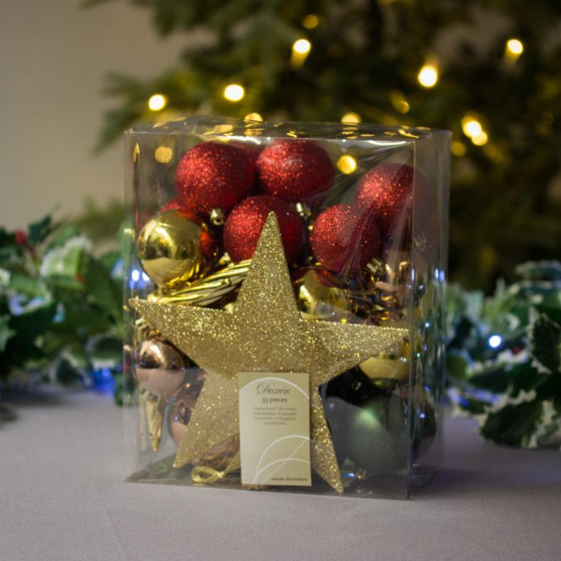 Mixed Bauble Set with Gold Star Tree Topper