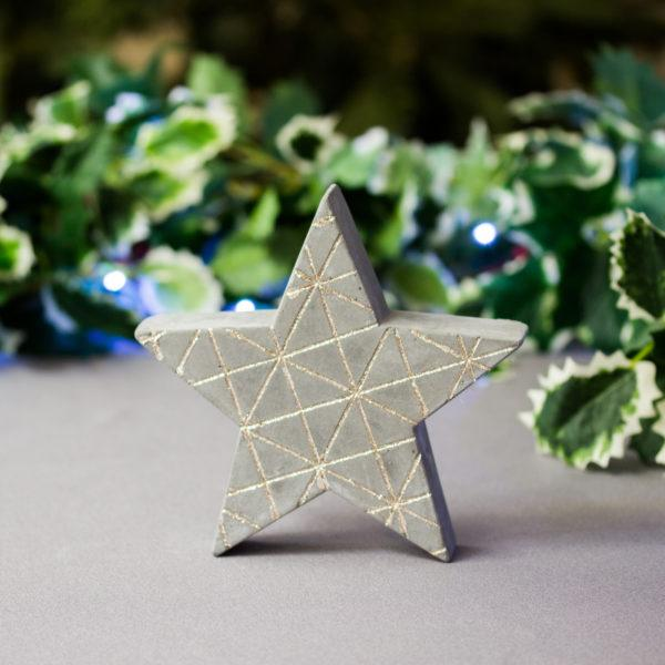 Small Concrete Glitter Star Christmas Decoration
