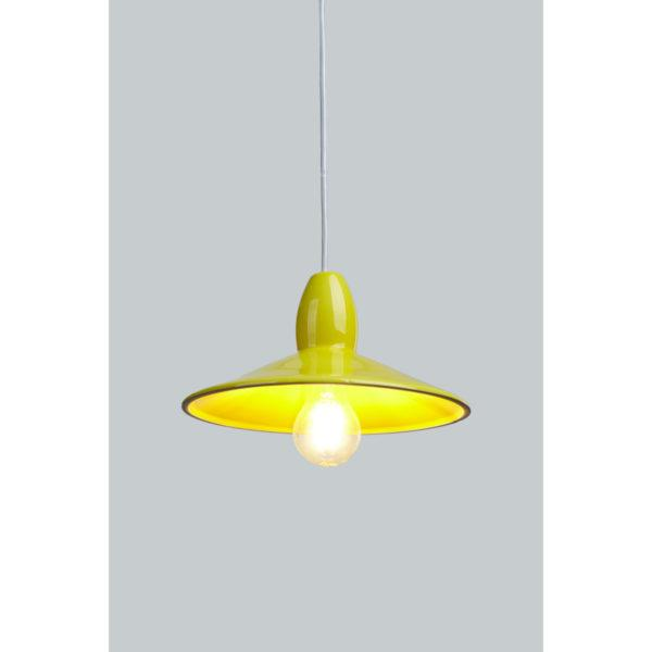 Half Spun Yellow Ceramic Pendant Light