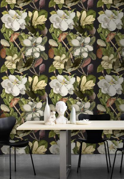 Magnolia Taupe Wallpaper