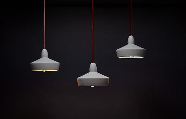 Full Spun Grey Ceramic Pendant Light