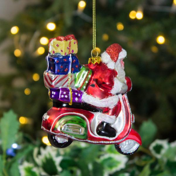 Painted Glass Santa Robot Decoration