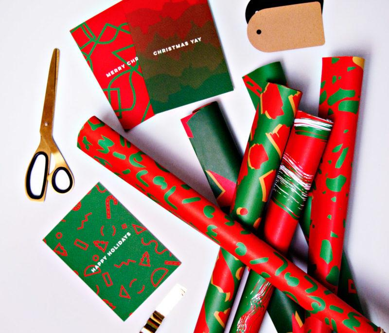 Christmas Shadow Brush Gift Wrap Sheet