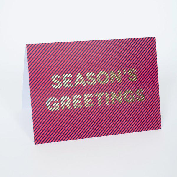 Seasons Greetings Stripe Christmas Card