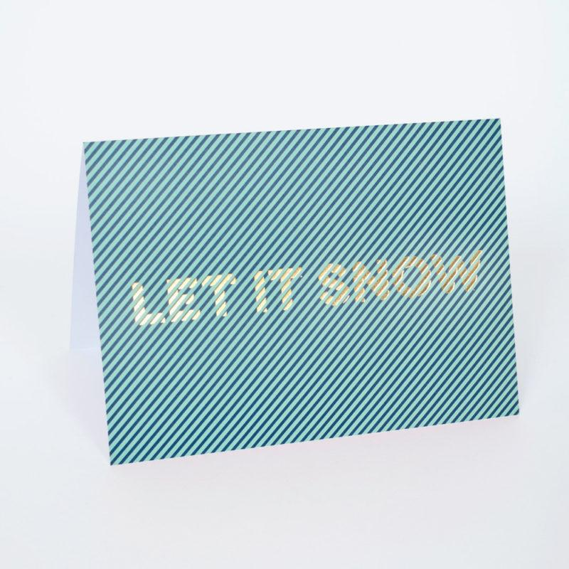 Let it Snow Stripe Christmas Card