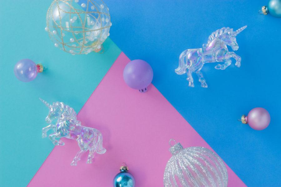 Iridescent Rainbow Unicorn Christmas Decoration