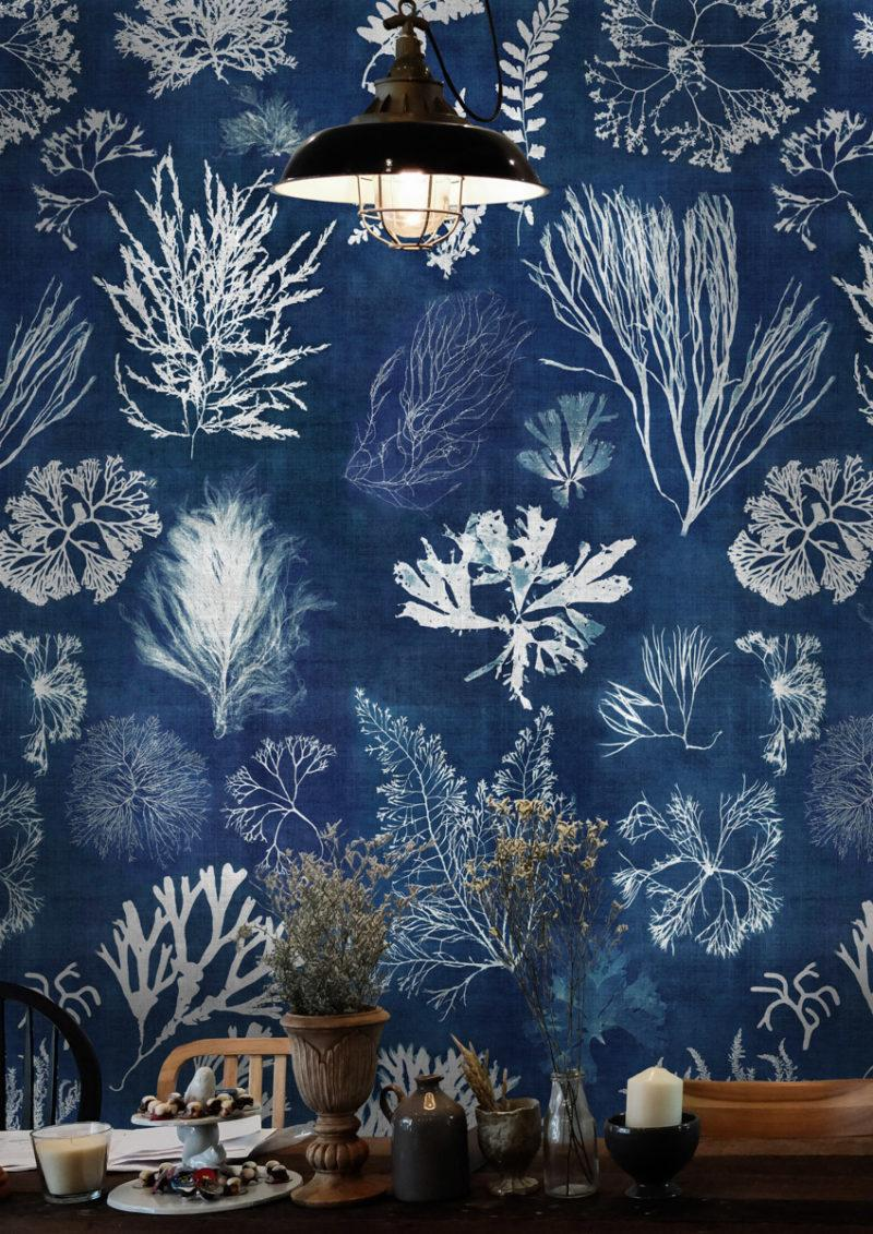 Algae Navy Blue Wallpaper
