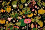 Asian Fruits & Flowers in Anthracite Wallpaper