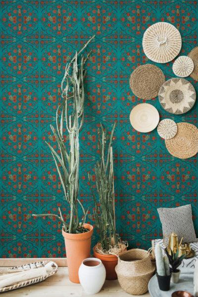 Hindu Bloom Anthracite Wallpaper
