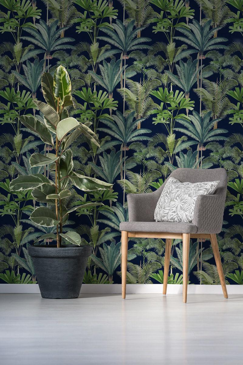 Palmeras Anthracite Wallpaper