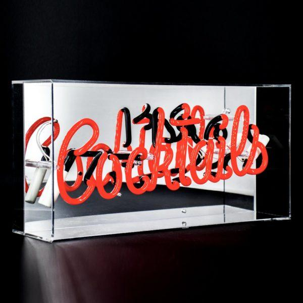 Cocktails Acrylic Neon Light Box - Red