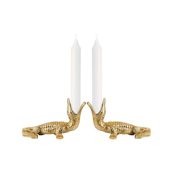 Gold Crocodile Candlesticks set of 2