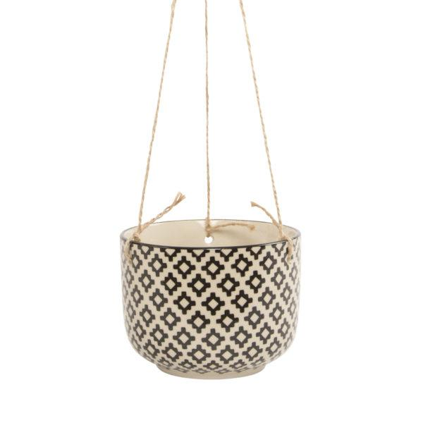 Black Geometric Hanging Planter - Zinnia