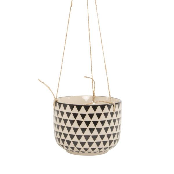 Black Geometric Hanging Planter - Isla