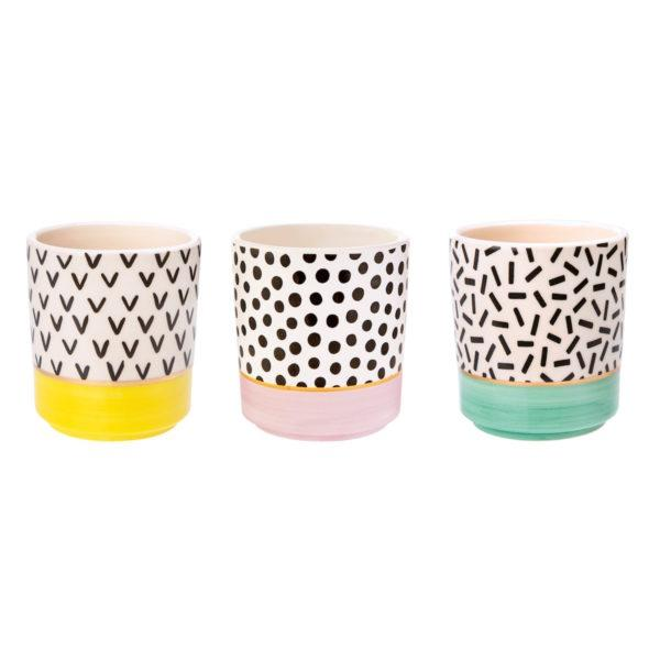Memphis Modern Ceramic Planters - Set of 3