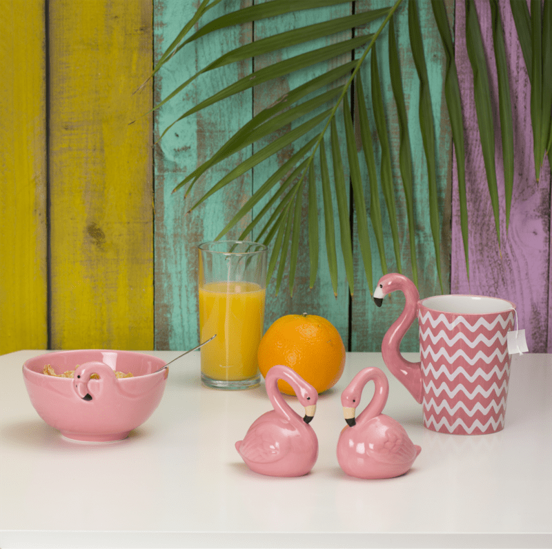 Tropical Flamingo Stoneware Bowl