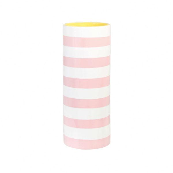 Pink & White Stripe Ceramic Vase