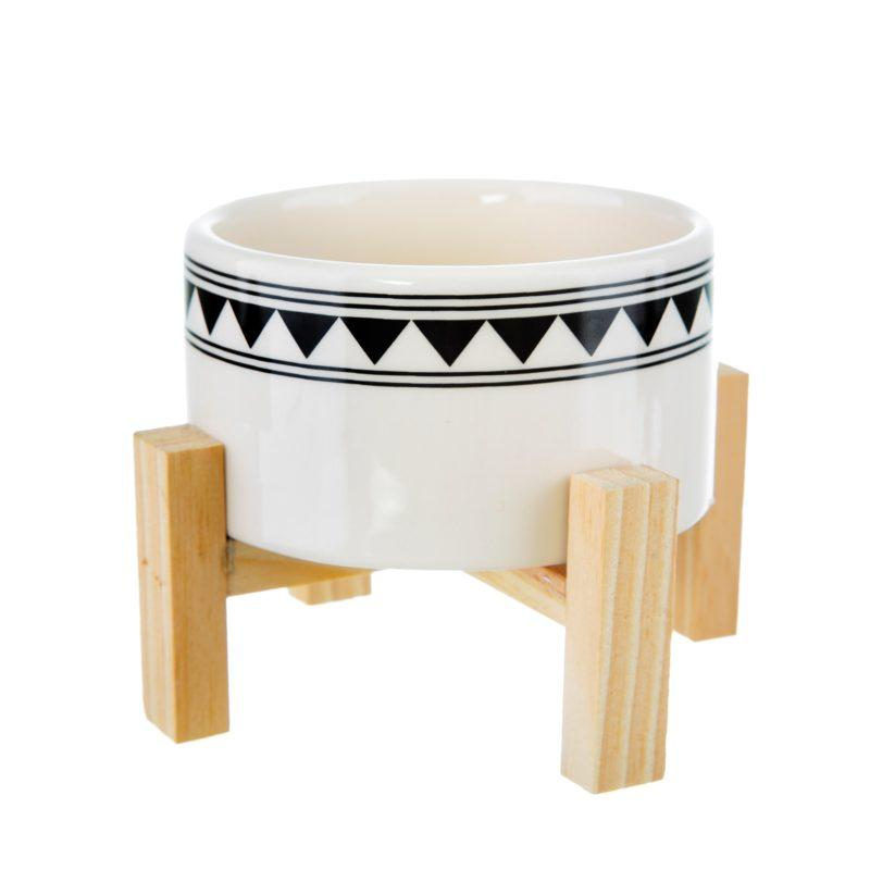 Tribal Ceramic Planter with Wooden Stand