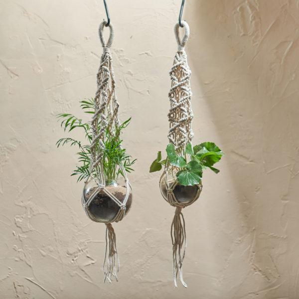 Basua Recycled Glass Macrame Plant Hanger