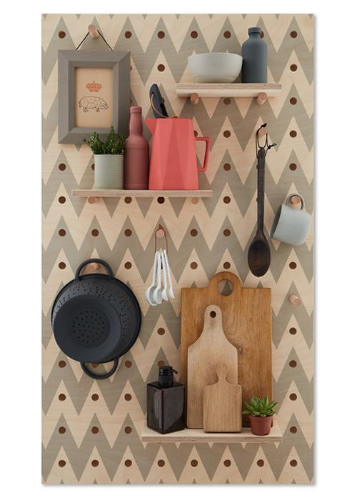 Peg-it-all Large Chevron Pegboard with Pegs & Shelves
