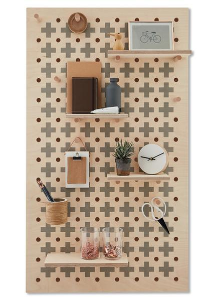 Peg-it-all Large Cross Pattern Pegboard with Pegs & Shelves