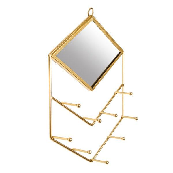 Gold Diamond Wall Mirror with Jewellery Holder