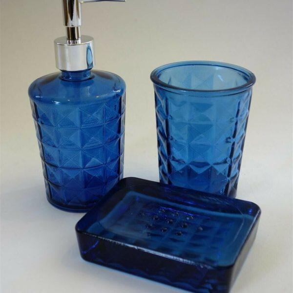 Recycled Glass Soap Dish 3pce Bathroom Set