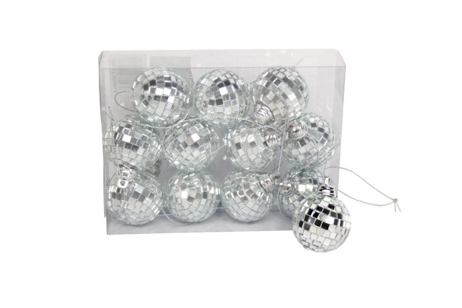 Silver Mini Mirror Ball Decorations Box of 12