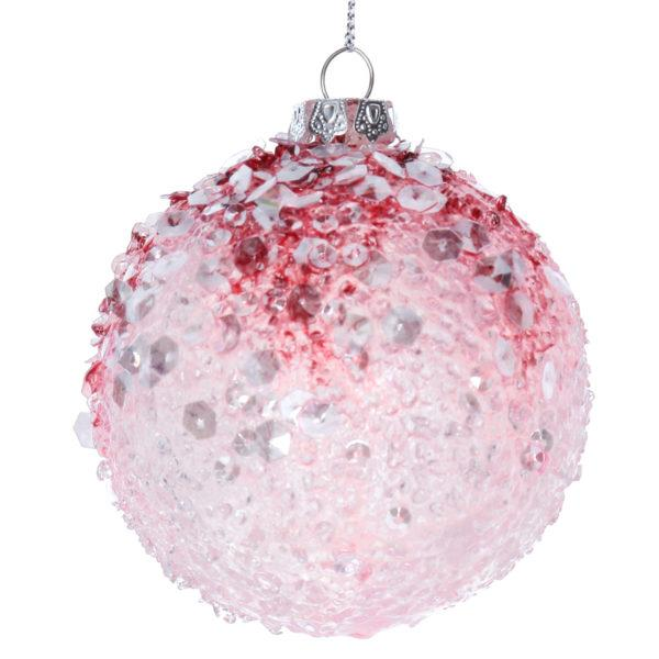 Opaque Pink Crushed Christmas Bauble Decoration