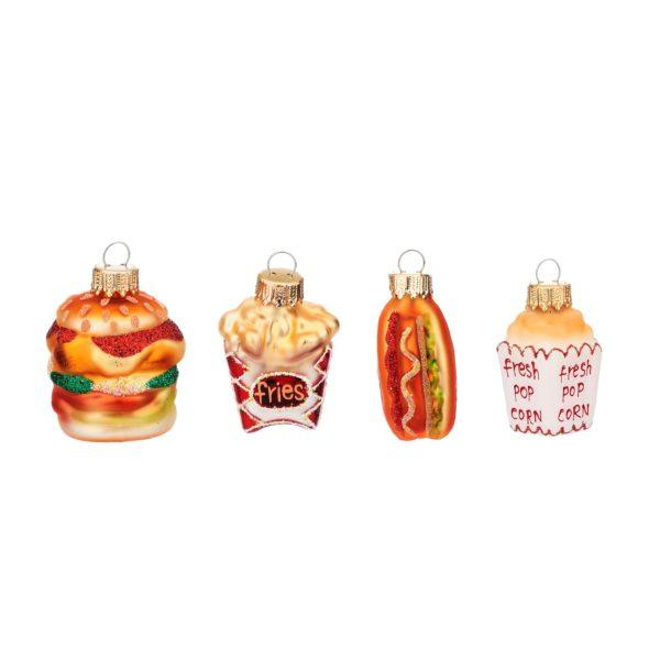 Fun Fast Food Christmas Tree Decoration Set of 4