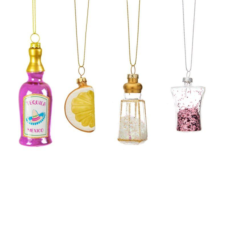 Christmas Cheer Tequila Christmas Tree Decoration Set of 4