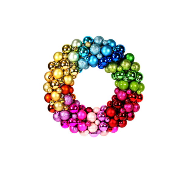 "15"" Rainbow Bauble Christmas Wreath"