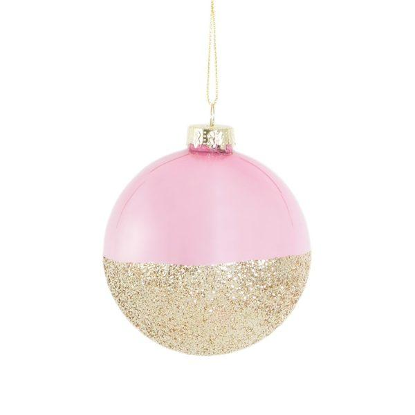 Pink & Gold Glitter Dip Bauble Christmas Tree Decoration