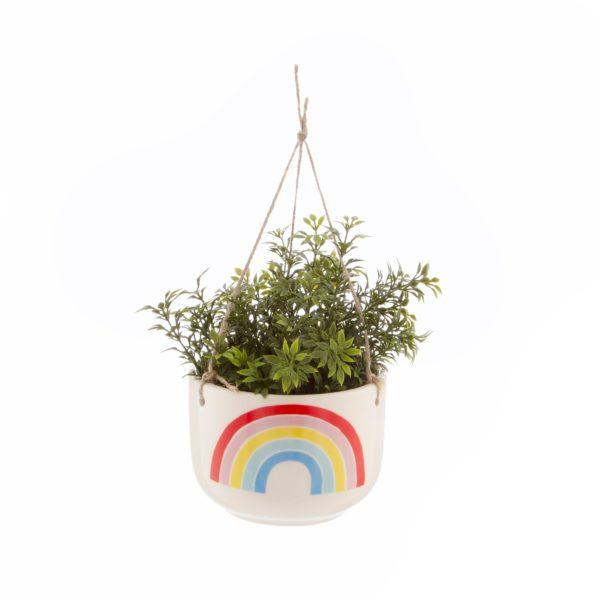 Chasing Rainbows Hanging Ceramic Planter