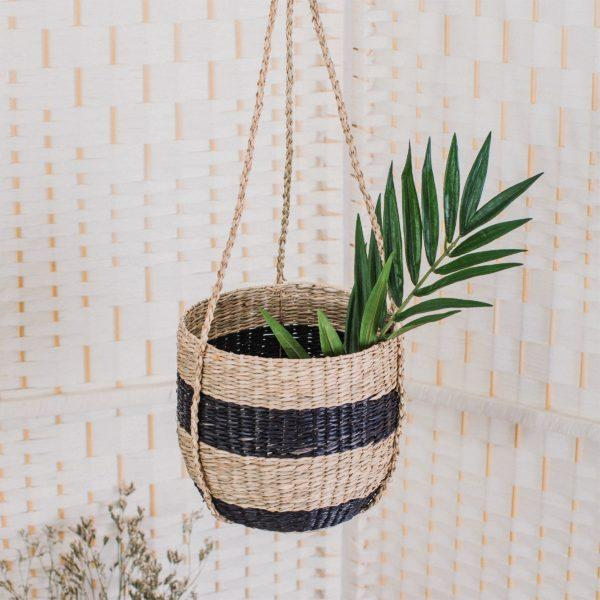 Black Stripe Seagrass Hanging Planter
