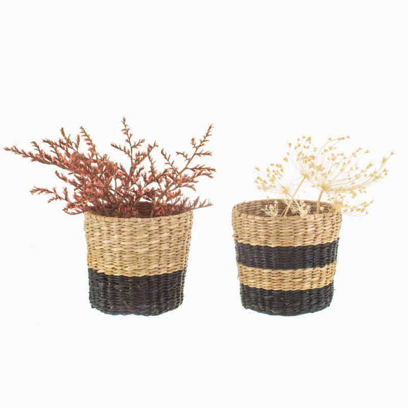 Black Stripe Mini Seagrass Planter - Set of 2