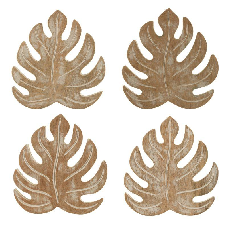 Wooden Cheese plant Coaster Set of 4