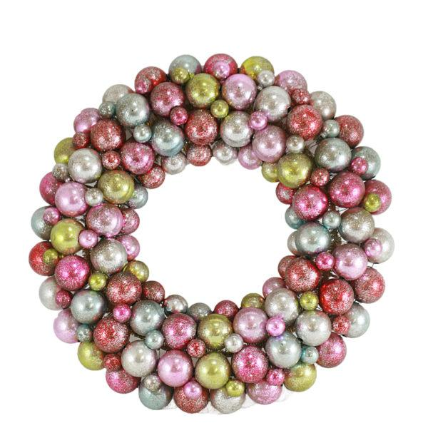 "15"" Pastel Rainbow Bauble Christmas Wreath"