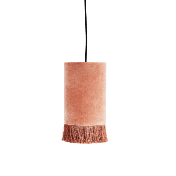Dusty Pink Velvet Ceiling Light with Tassels