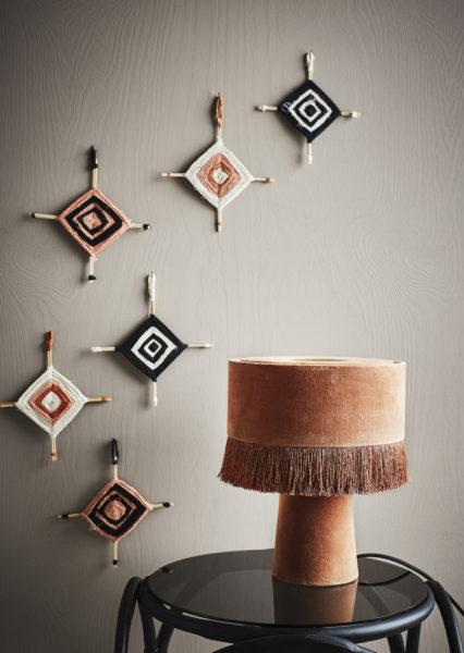 Dusty Pink Velvet Table Lamp with Tassels