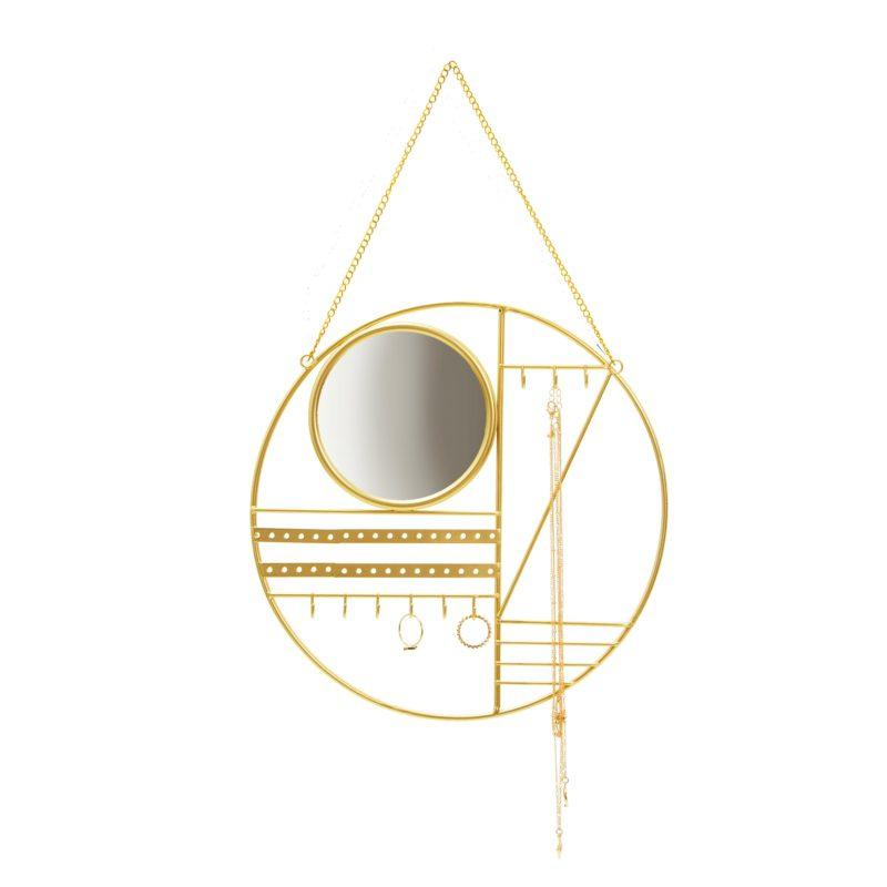 Abstract Gold Jewellery Hanger with Mirror