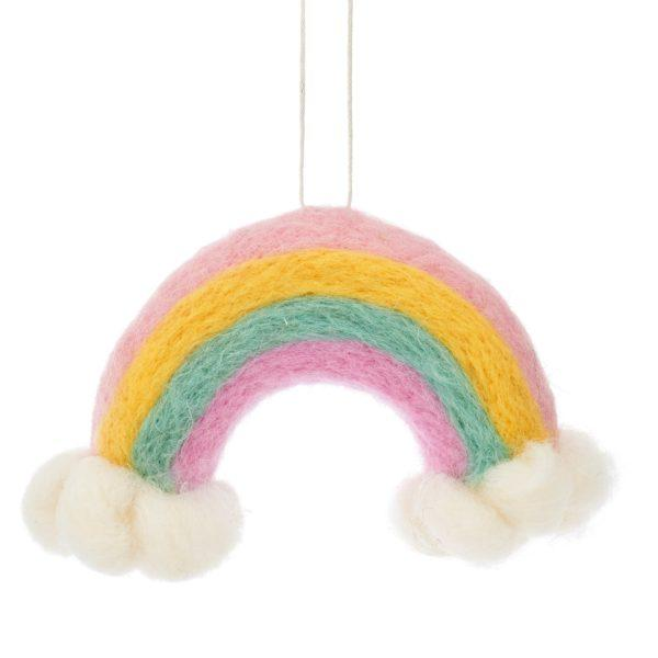 Rainbow & Clouds Felt Christmas Tree Decoration.