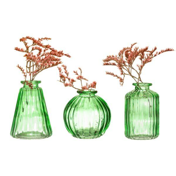 Green Glass Bud Vases Set of 3